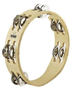 NINO WOOD TAMBOURINE 2 ROW NICKEL